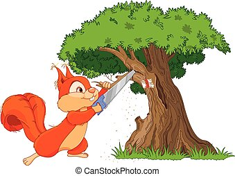 Funny squirrel saws branch - Illustration of funny squirrel...