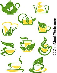 Herbal and lemon tea cup icons or symbols with green leaves...