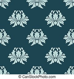 Light and dark blue floral seamless pattern