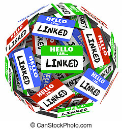 Linked Word Name Tags Sphere Connecting Networking