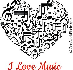 Musical heart with notes ant text I love music