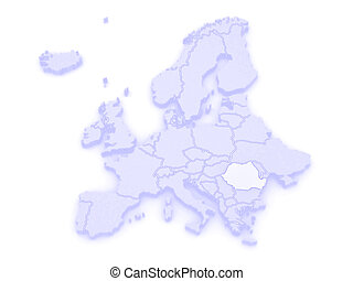 Map of Europe and Romania 3d