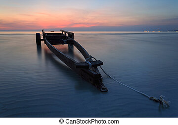 The boat trailer at Kon Ao Beach , Rayong, Thailand - The...