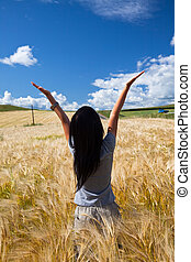 girl - the girl stand in the wheaten field