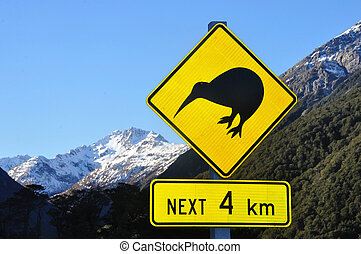 watch out for kiwis - Road sign warning of kiwis near...