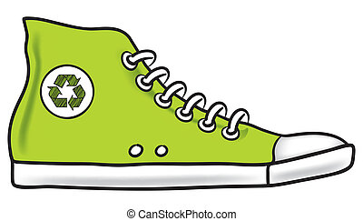 Running shoe recycle - Generic green illustration of running...
