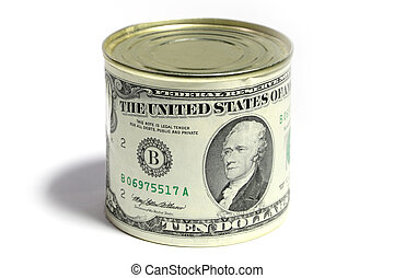 Dollar on the tin - Label with the image of dollar on a tin...