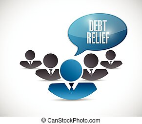 debt relief team sign illustration