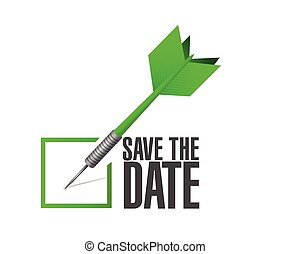 save the date dart check mark