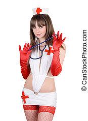 Sexy, Enfermera, estetoscopio, aislado, blanco