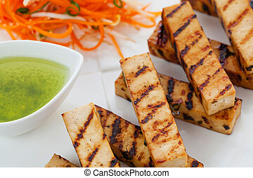 Grilled tofu - Grilled japanese style tofu slices with...