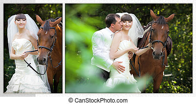 groom and the bride during walk in their wedding day against a horse
