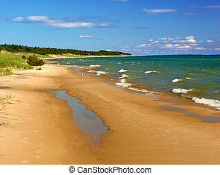 Lake Michigan Beach Landscape - Lake Michigan beach seen...