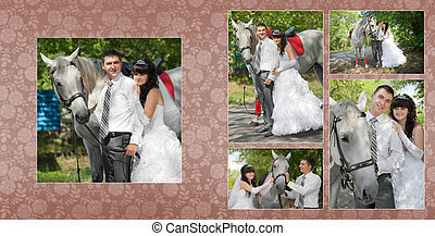 Collage - groom and the bride during walk in their wedding day against a grey horse