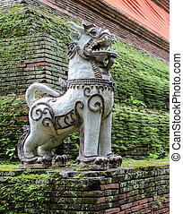 Thai Singha lion guardian - Thai lion sculpture statue at...