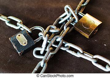 cerradura, y, llaves,