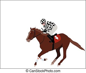 jockey illustration - jockey riding race horse illustration...