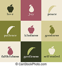 Fruit of the Spirit - Tiles depicting fruit of the Holy...