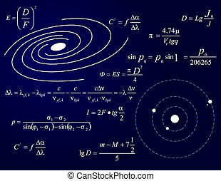 Galaxy and planets, illustration with formulas