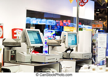 Grocery store checkout - An Grocery store checkout in super...