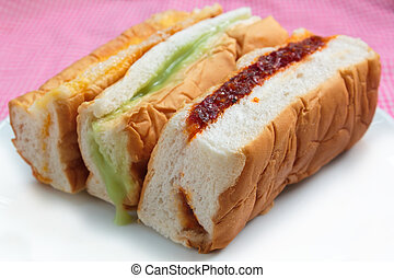 Bread many kind - bread with shredded pork and chili paste,...