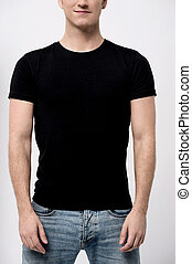 Midsection of young man - Cropped image of man posing...