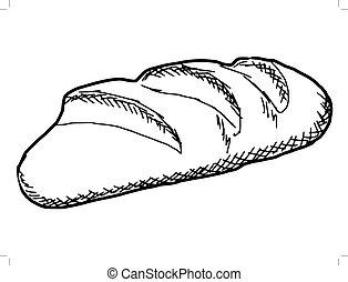 long loaf - hand drawn, sketch illustration of long loaf