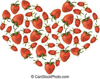 Strawberries heart - Vector illustrations of valentine heart...