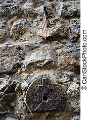 Via Dolorosa - Sign of Via Dolorosa on the wall of stone...