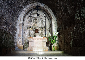 Holy well - Marble well in Visitation church in Ein Karem,...