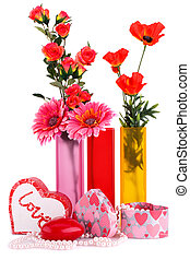 Valentines day - Flowers in vases, red heart candle,...