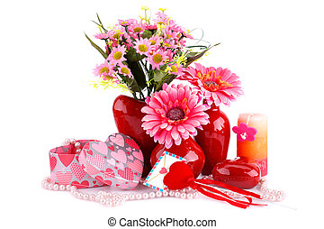 Valentine's day - Flowers in vases, red heart glass,...