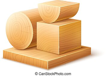 Woodworks wooden workpieces blocks of various forms Eps10...