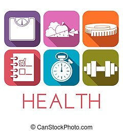Vector set of health icon in flat style.