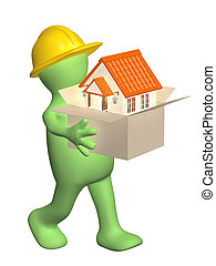 3d builder bearing a box with house in hands