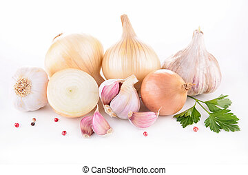 fresh garlic and onion
