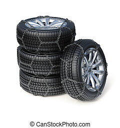 Winter tires with snow chain isolated on white background -...