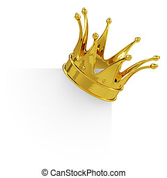 Golden crown on the blank board - 3d render of golden crown...