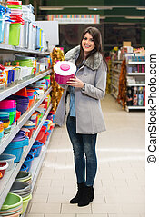 Woman Shopping At The Supermarket - Beautiful Young Woman...