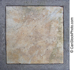 pink white marble embedded in gray grunge stone...