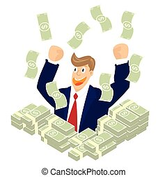 Businessman hand up in a pile money