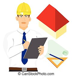 Architect engineer with clipboad