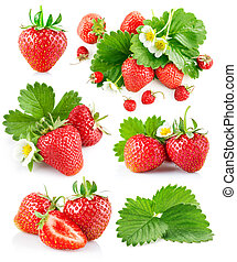 Set berry strawberry with leaves and flowers Isolated on...