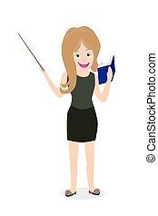 female teacher holding book, stick - female teacher smiling...