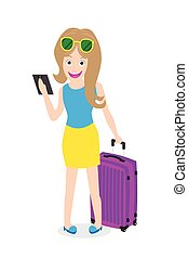 woman holding tablet with luggage