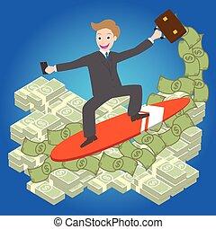 businessman surfing money wave