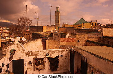 AFRICA MOROCCO FES - The Leather production in the old City...