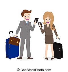 businessman holding cell phone - Young businessman and woman...