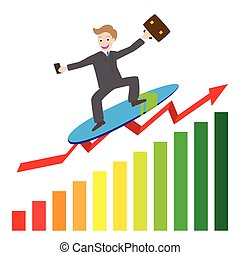 businessman surfing wave on chart - illustration of...