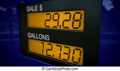 Gas pump display starting at 28 - Real time with slow zoom...